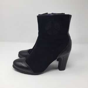 [True Religion] Suede Peace Symbol Ankle Boots